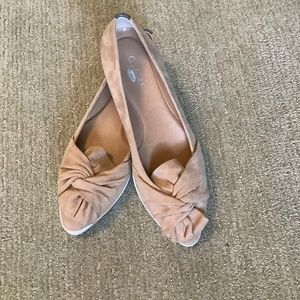 DR. SCHOLL'S Shoe Viv Ruffled Tan Suede New 7.5M